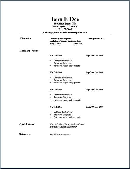 Simple Resume Template Download Simple Resume Template Download Http Www Resumecareer