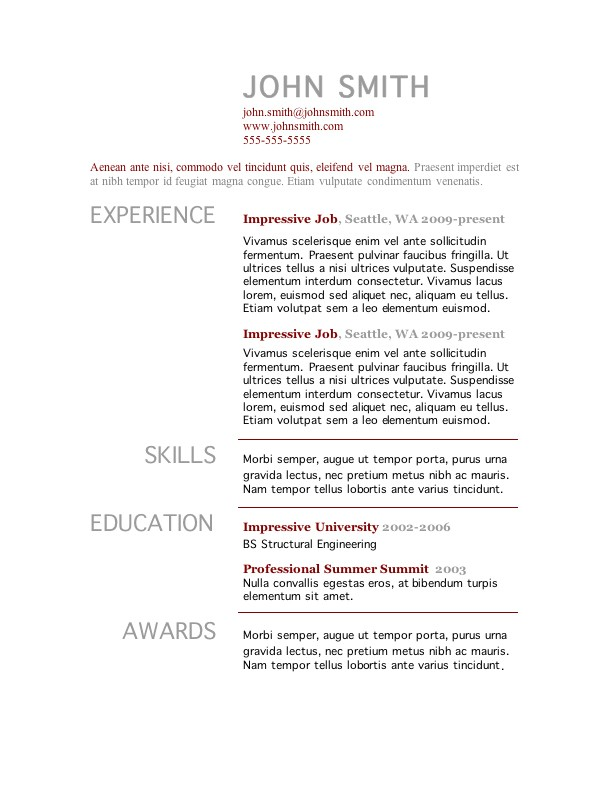 Simple Resume Templates Free Simple Resume Template Word Learnhowtoloseweight Net