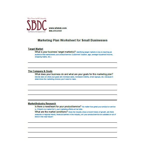 sample small business marketing plan