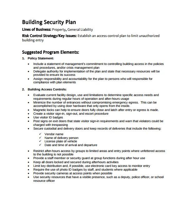 security plan template