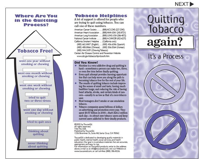 smoking cessation brochures qh