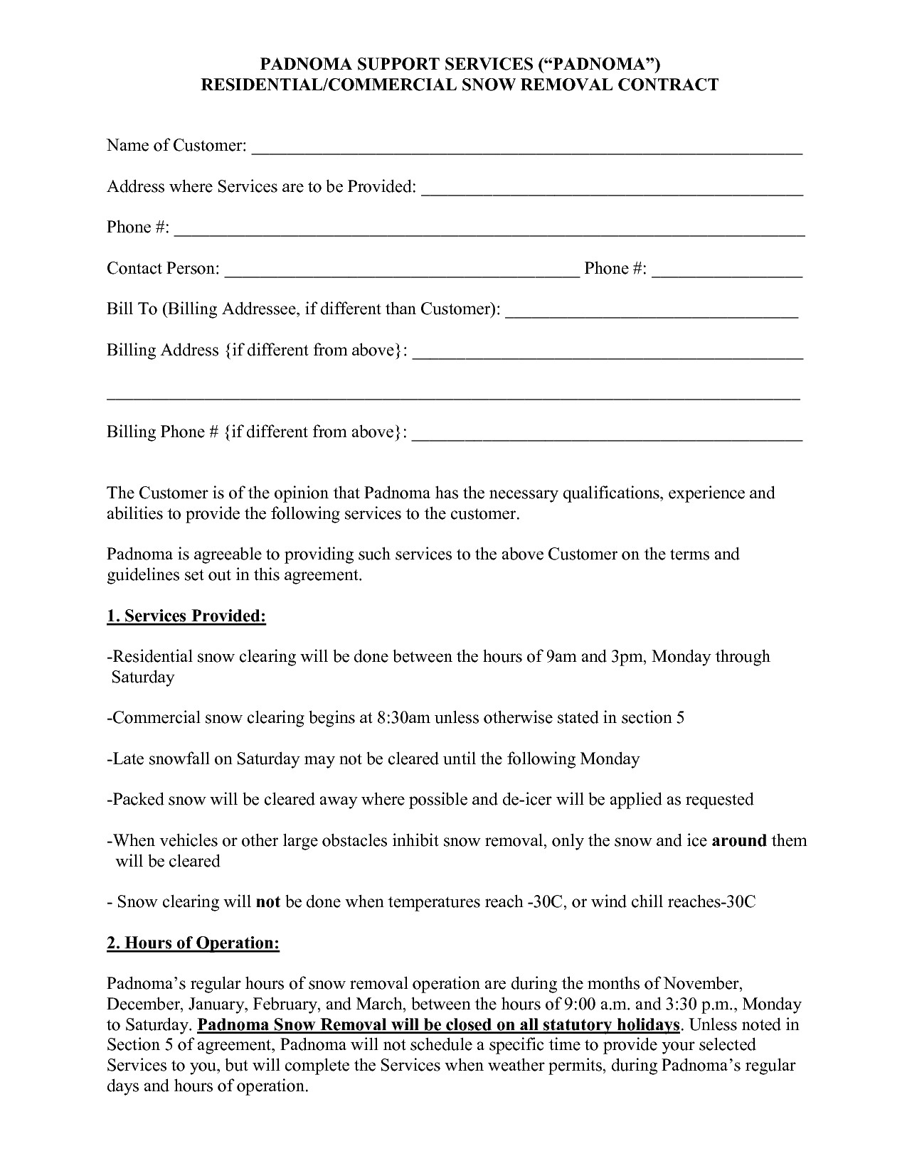 post snow plow proposal forms 652162