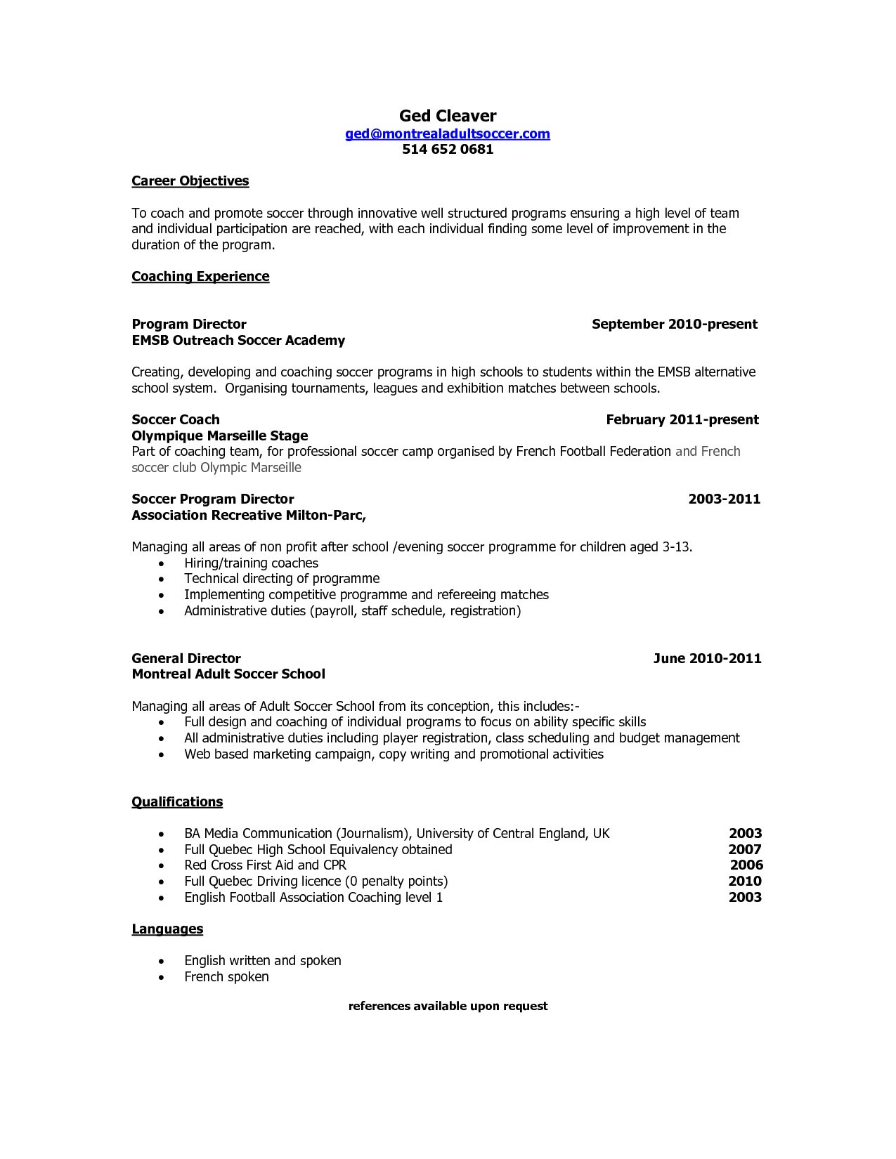 Soccer Player Resume Sample How to Write A soccer Resume Resume Ideas