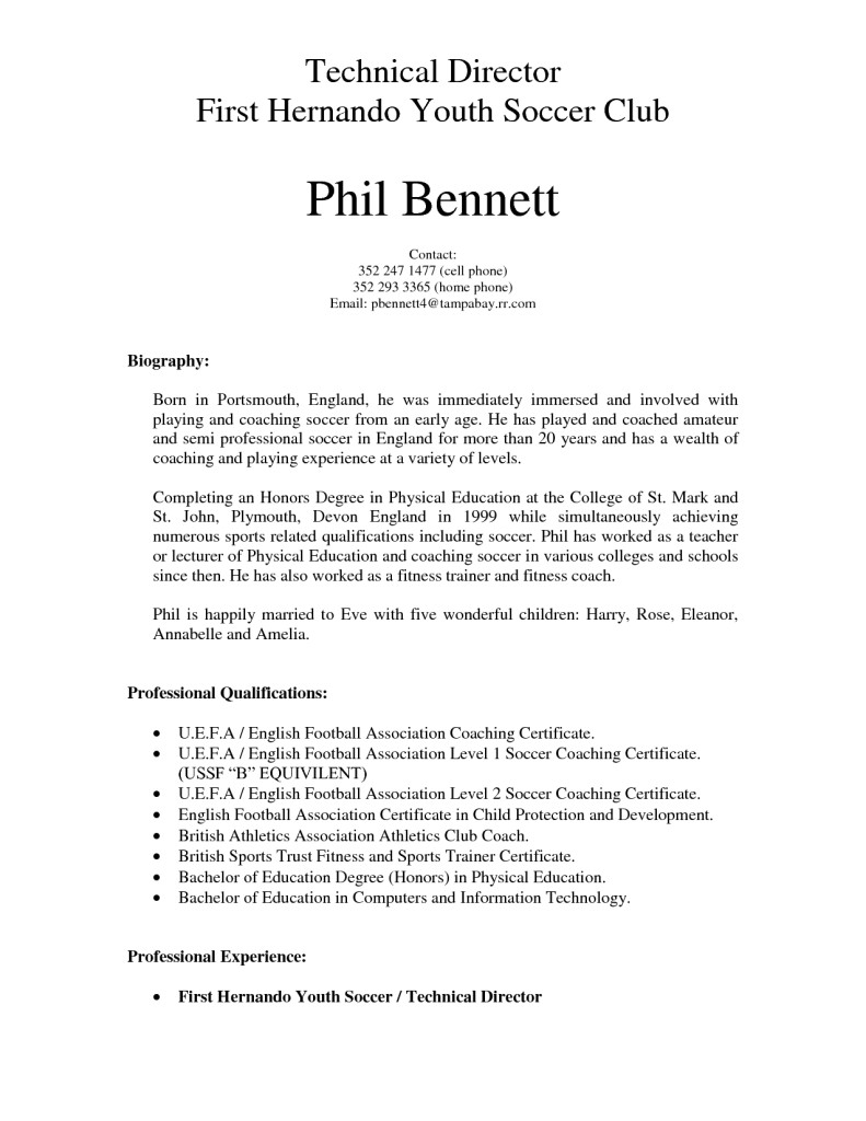 soccer coach resume sample player template coaching