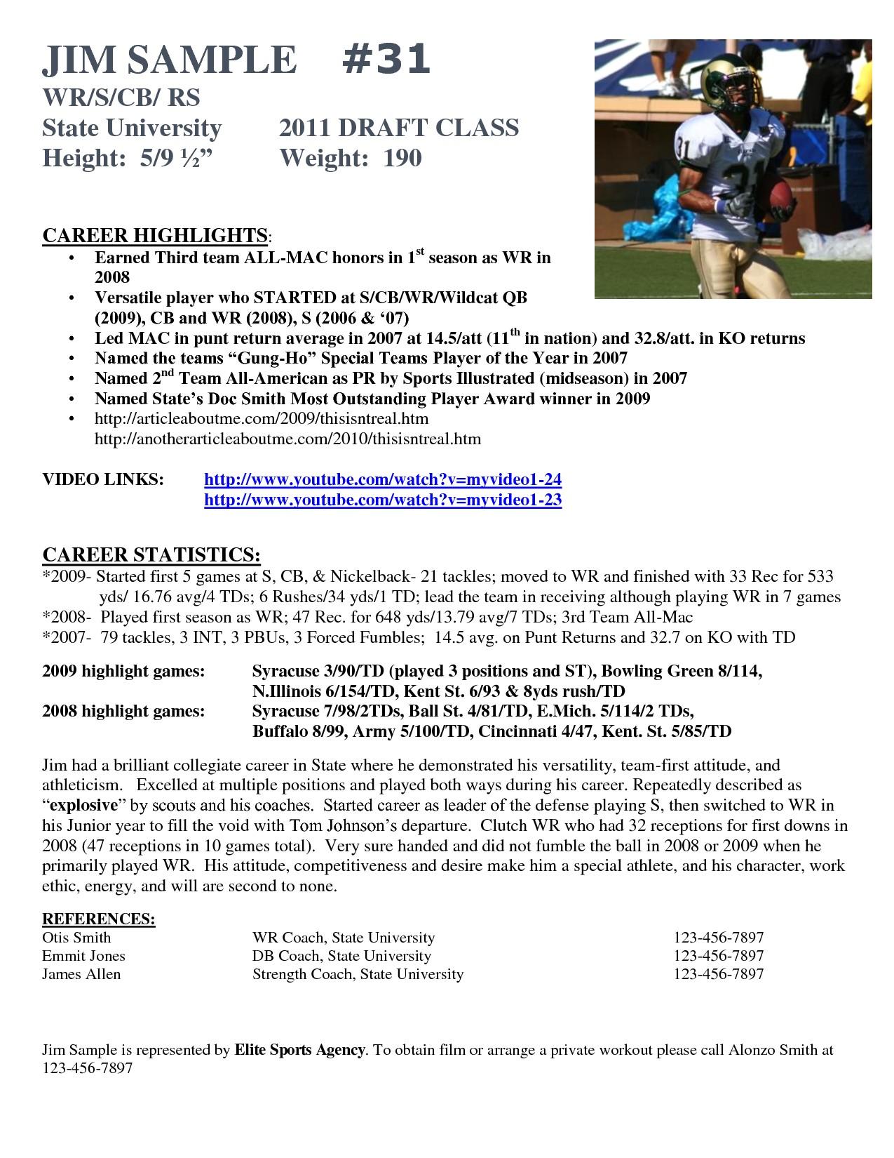 soccer player resume sample for study