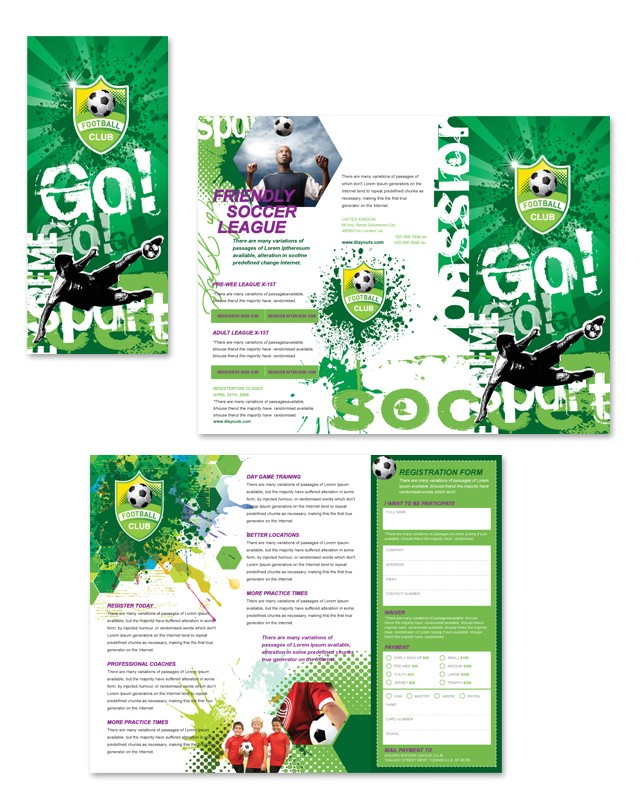 soccer club tri fold brochure template
