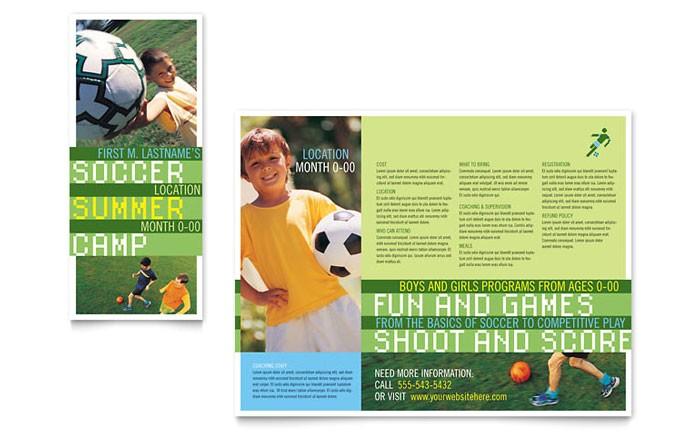 soccer sports camp brochure template design sf0020101