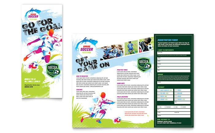 youth soccer tri fold brochure template design sf0212301