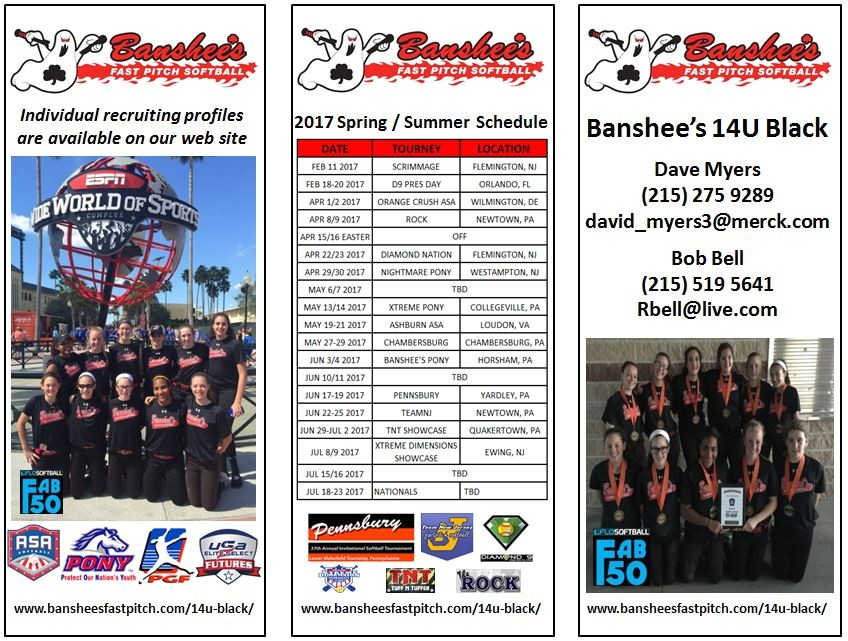 banshees 14u black schedule and at a glance 2017 roster