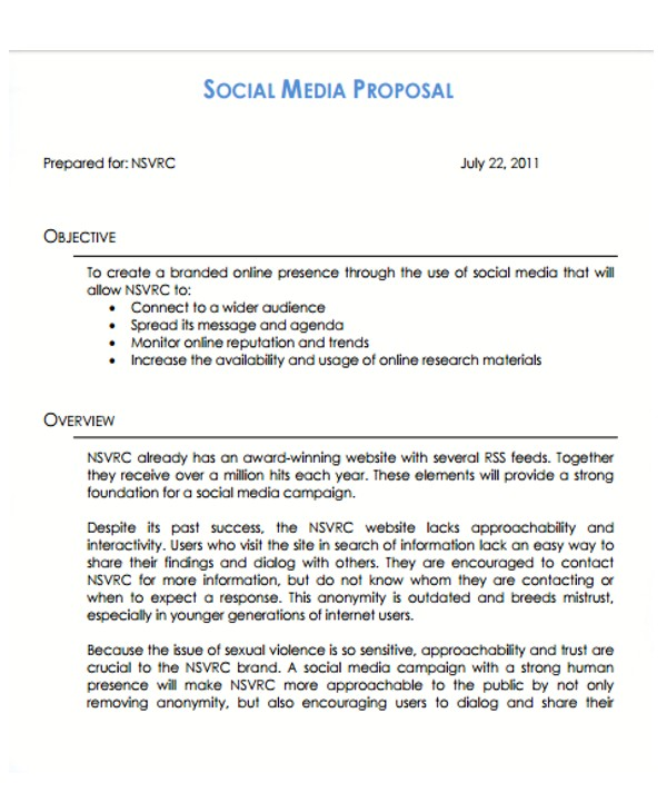 Social Media Marketing Proposal Template Free 10 social Media Proposal Templates Free Sample Example