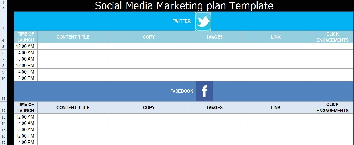 Social Media Marketing Proposal Template Free social Media Marketing Plan Template Free Exceltemple
