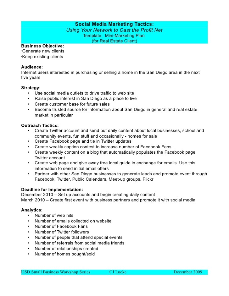 Social Media Marketing Proposal Template Free social Media Marketing Plan Template