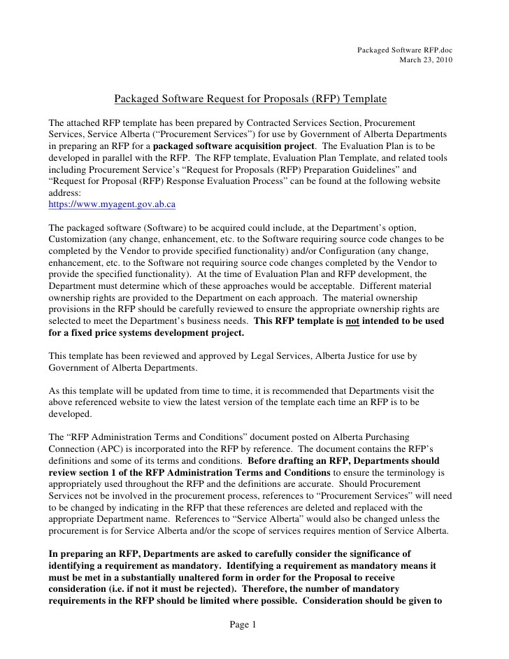 packaged software rfp template