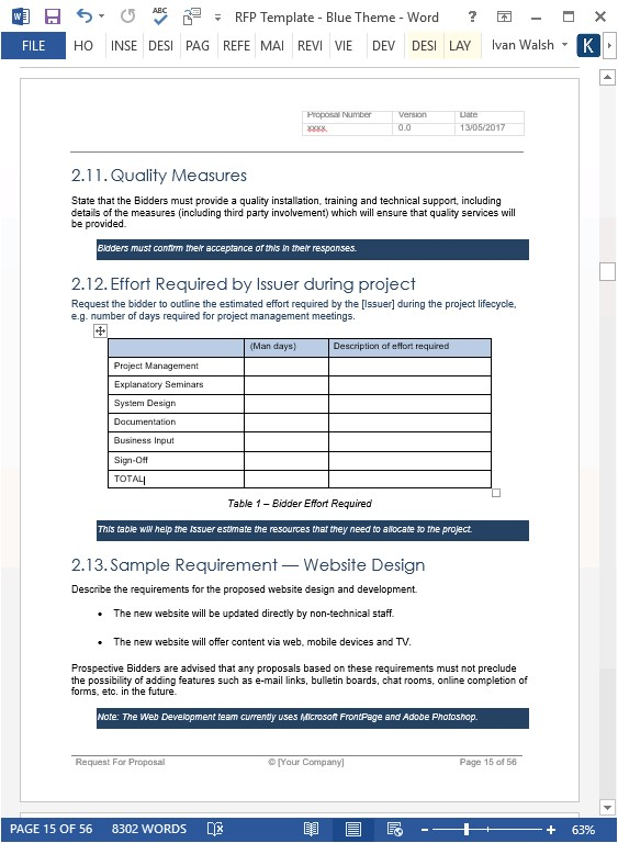 request for proposal template