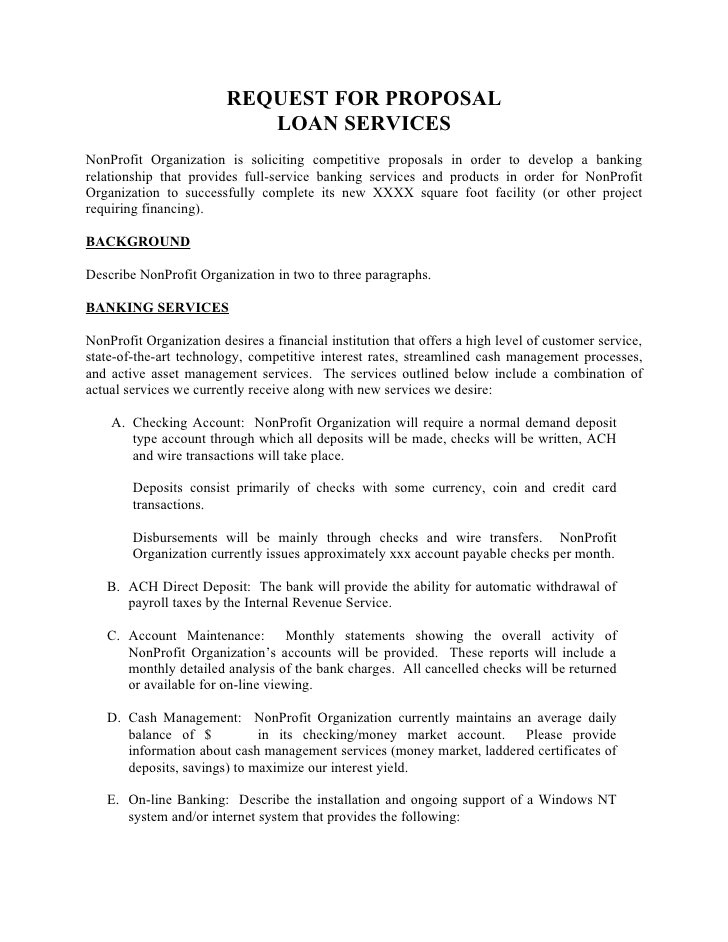 Software Request for Proposal Template Request for Proposal Template Request Proposal Loan