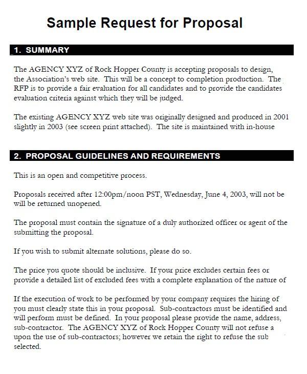 sample rfp proposal template