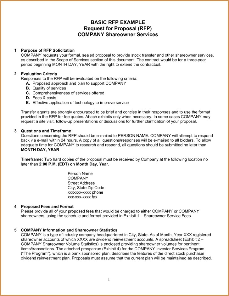 simple rfp template easy see request for proposal construction software 728 940