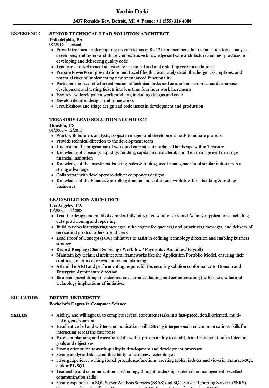 Solution Architect Resume Template Lead solution Architect Resume Samples Velvet Jobs