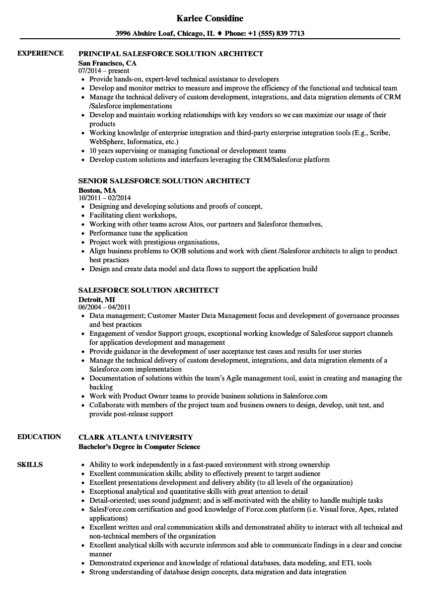 salesforce solution architect resume sample