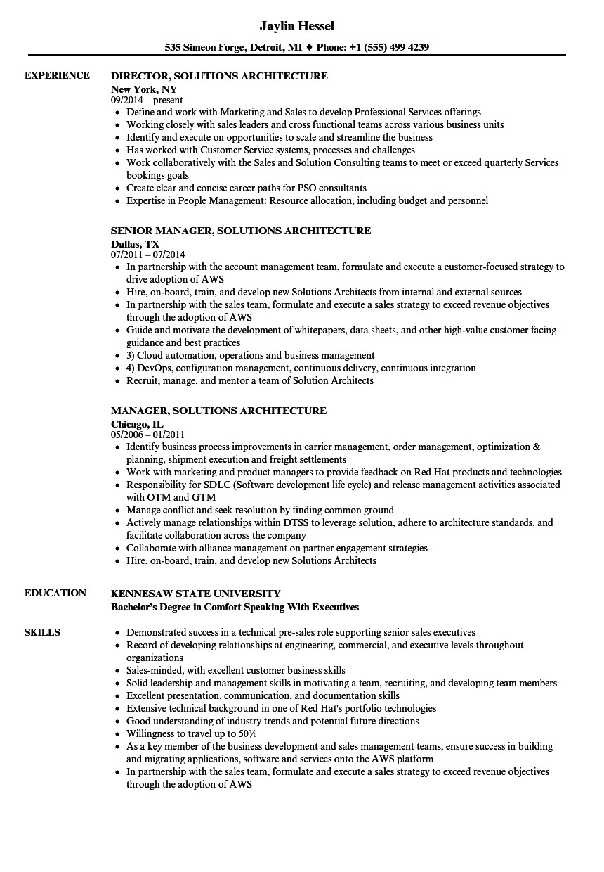 solutions architecture resume sample