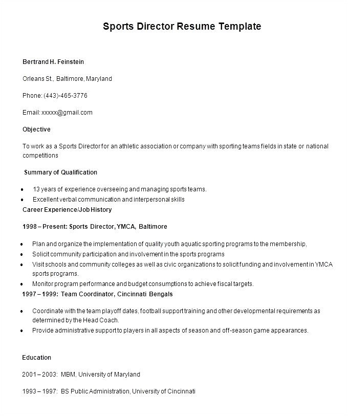sports director resume template