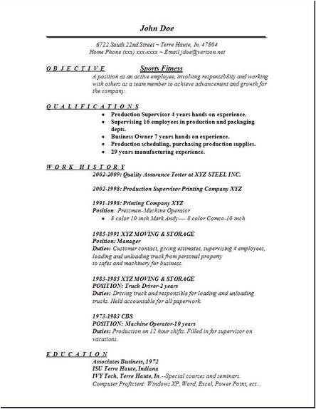 sports fitness resume