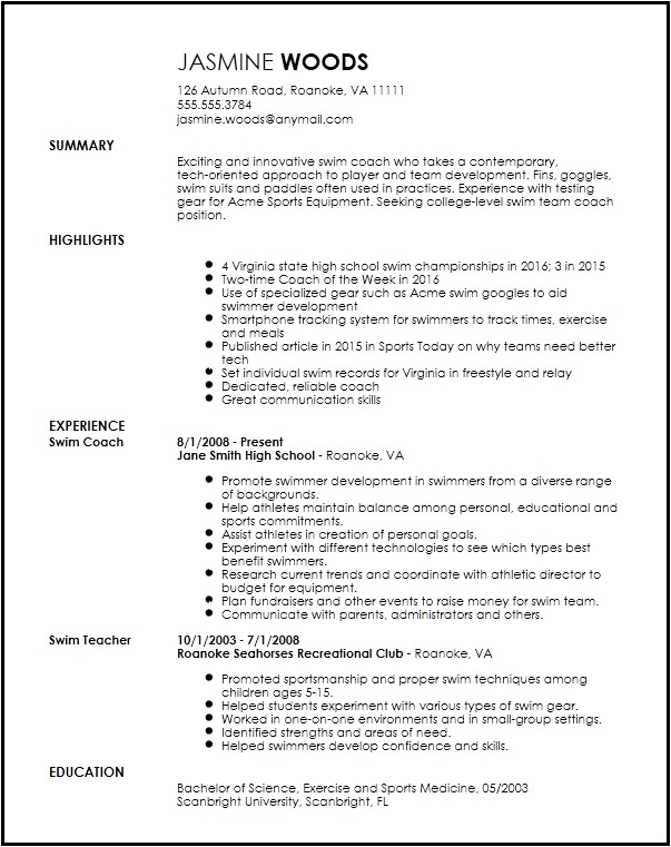 sports resume template