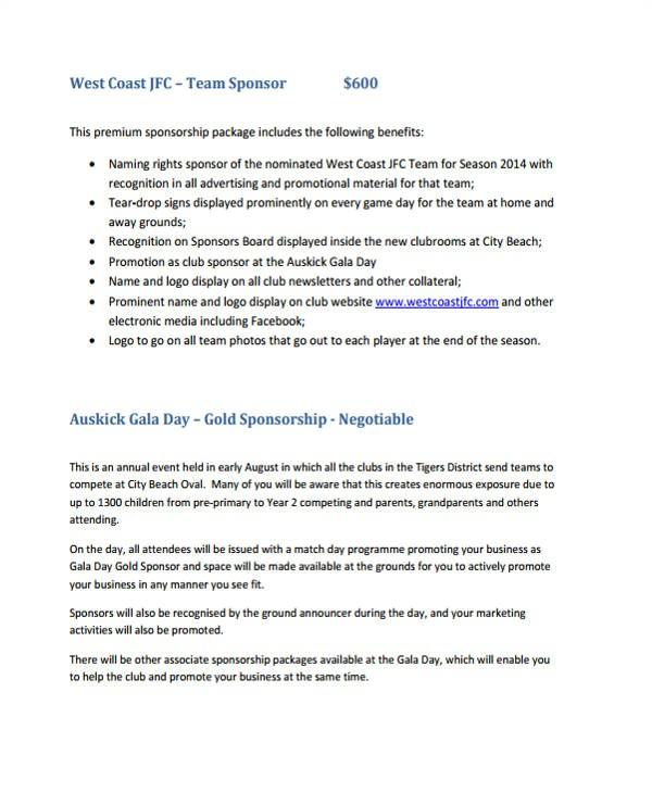 club sponsorship proposals