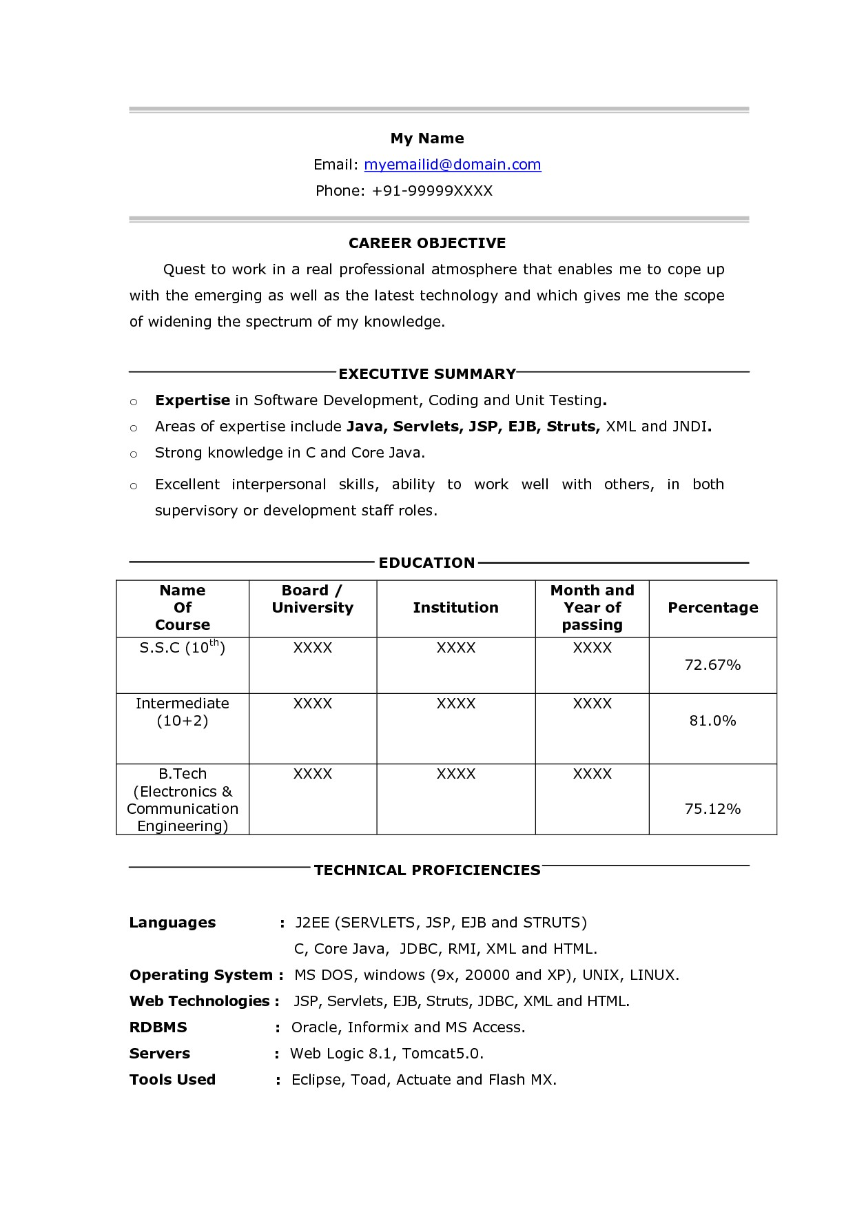 Sql Fresher Resume Sample Beautiful Pl Sql Resume for Fresher Contemporary Example