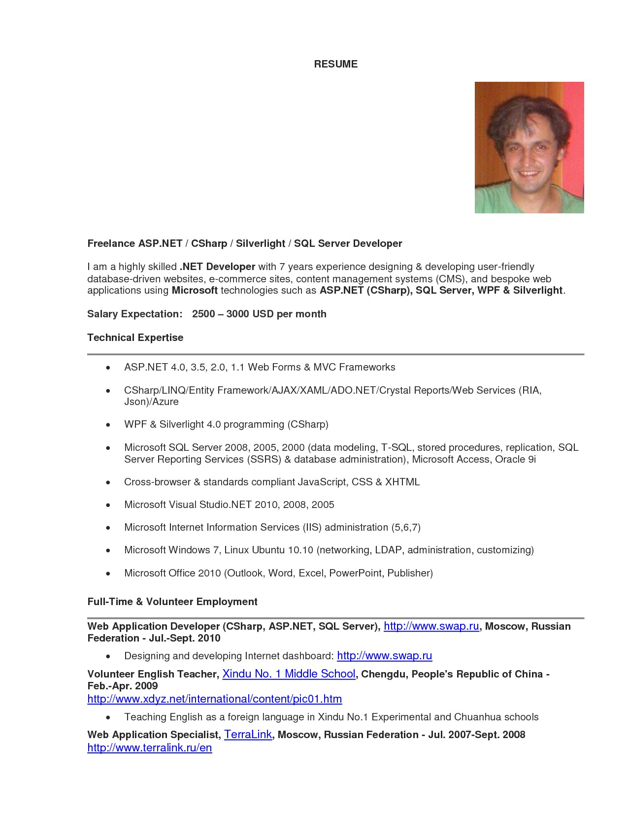 web developer resume examples