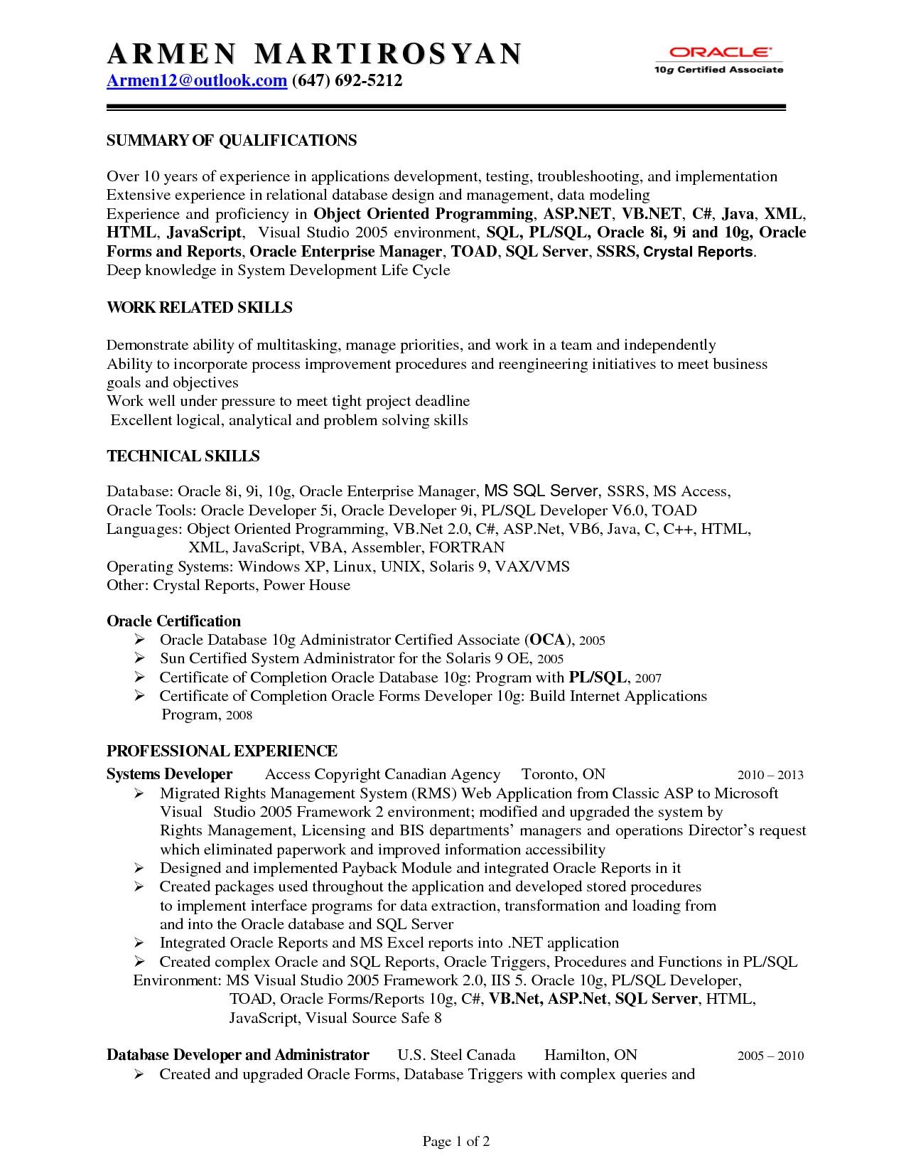 sql fresher resume