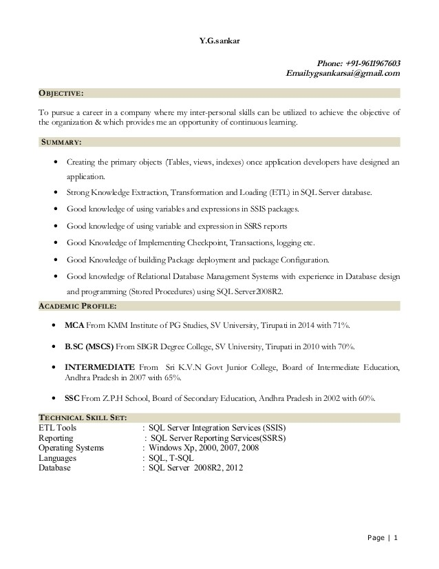 Sql Fresher Resume Sample Sql Fresher Resume Resume Ideas