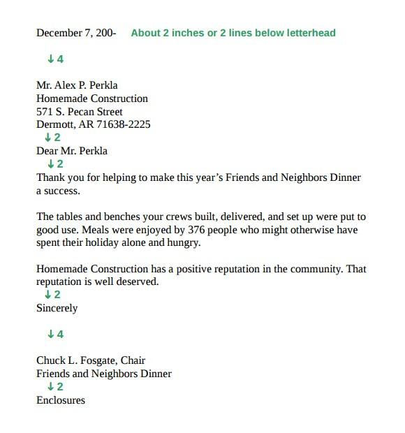 sample standard business letter