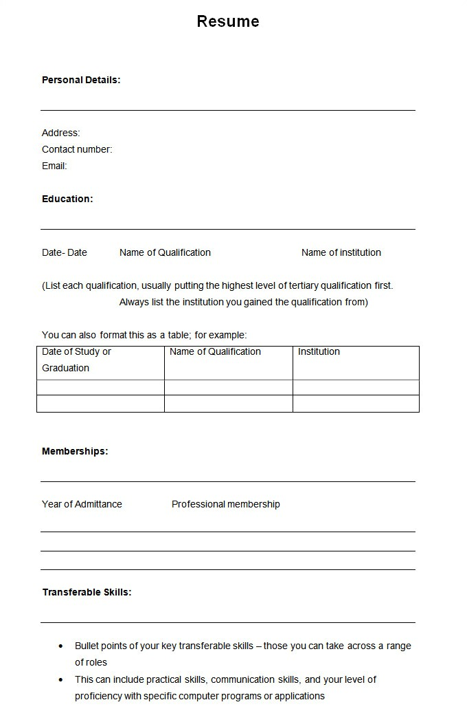 Standard form Of Resume Sample 46 Blank Resume Templates Doc Pdf Free Premium