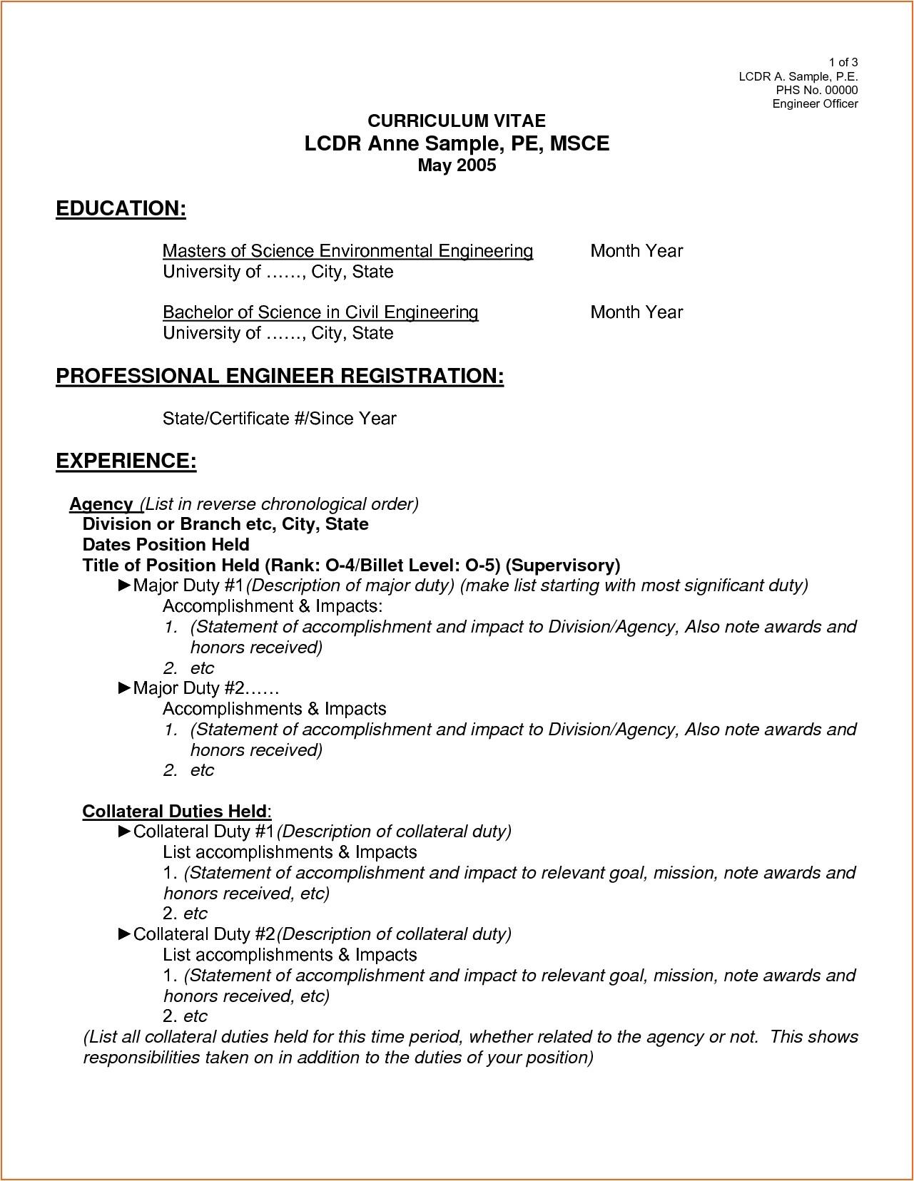 Standard form Of Resume Sample Curriculum Vitae Samples Pdf Template Resume Builder