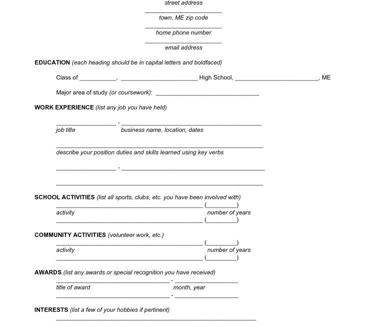 standard form of resume sample