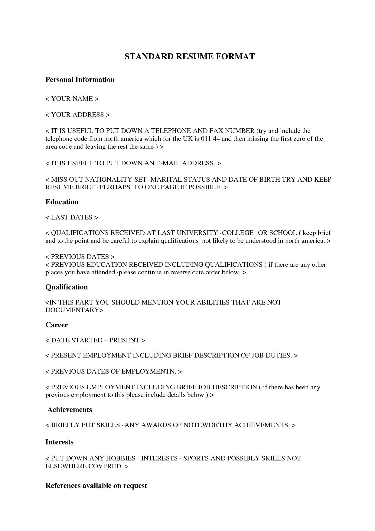 standard resume 2454
