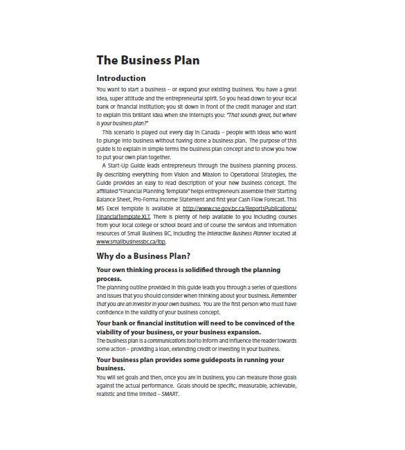 startup business plan word