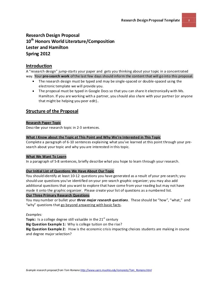 official research design proposal template and guidelines lester and hamilton march 2012 spring 2012