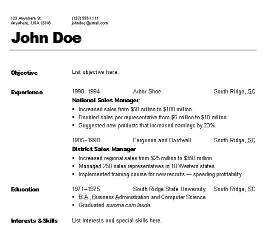 Styles Of Resumes Templates Types Of Resume Styles Resume Ideas