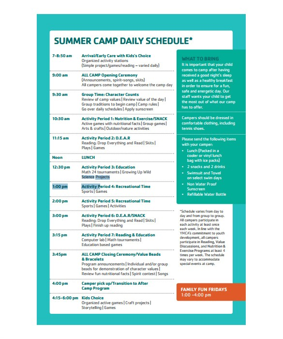 camp schedule template