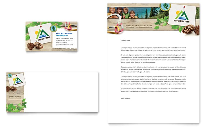 kids summer camp business card letterhead template design sf0170401