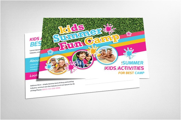 151880 kids summer camp postcard template