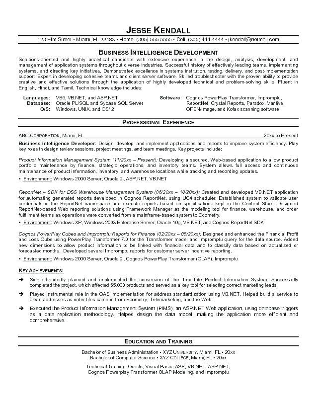 business objects developer resume