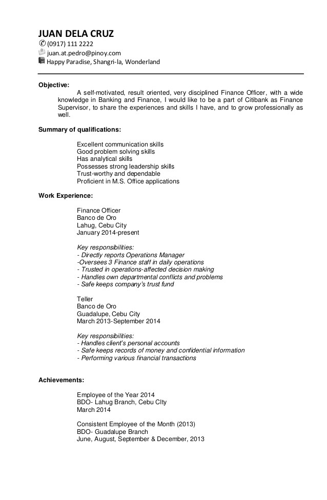 Targeted Resume Sample Sample Targeted Resume