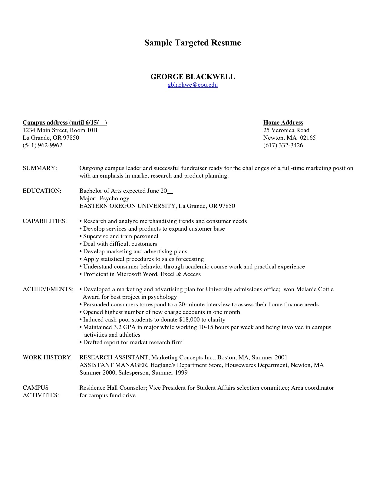 targeted resume