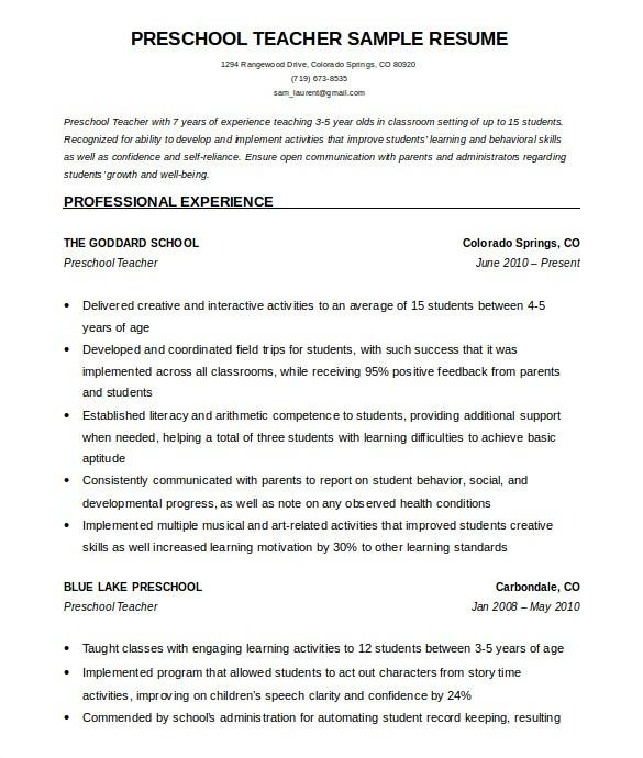 Teacher Resume Template Free 50 Teacher Resume Templates Pdf Doc Free Premium