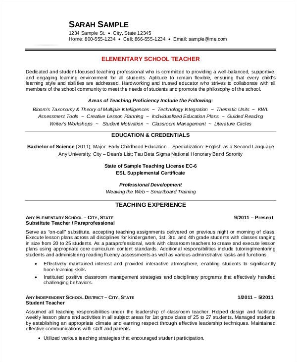 free teacher resume