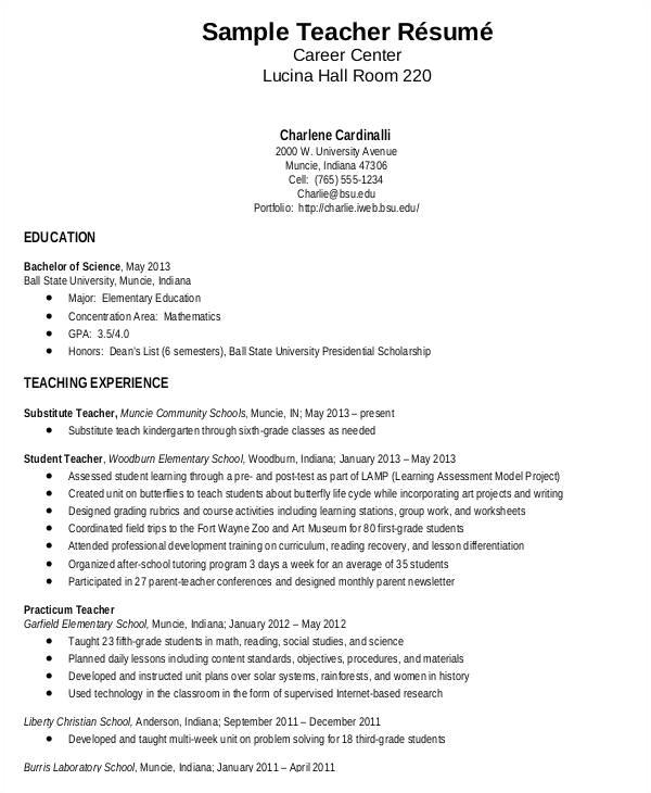 Teacher Resume Template Free Teacher Resume Sample 32 Free Word Pdf Documents