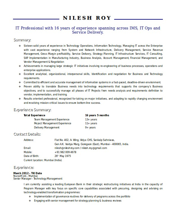 Technical Manager Resume Samples Technical Resume Template 6 Free Word Pdf Document
